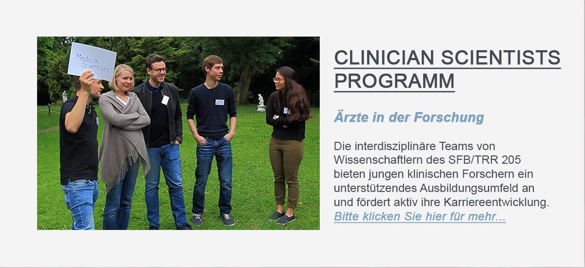 Hier sollte der Linkbutton, welcher zur PROGRAMseite für das Clinician Scientists Programm des SFB/TRR 205 führt, zu sehen sein.